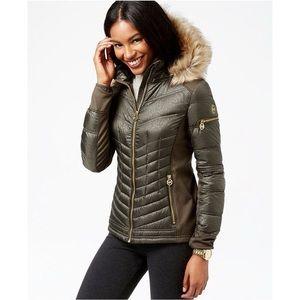 MICHAEL Michael Kors Faux Fur Trim Puffer Coat